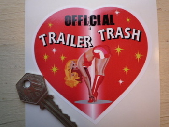 "Official Trailer Trash Heart Shaped Sticker. 4""."