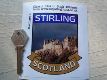 "Stirling Scotland Scroll Style Travel Sticker. 3.5""."