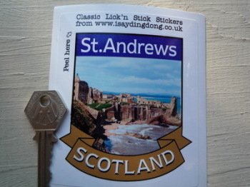 "St.Andrews Scotland Scroll Style Travel Sticker. 3.5""."