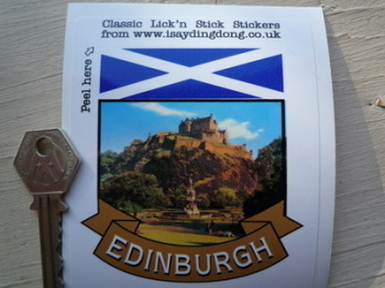 "Edinburgh Scotland Scroll Style Travel Sticker. 2"" or 3""."