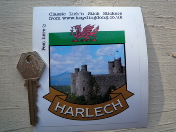"""Harlech Wales Scroll Style Travel Sticker. 2"""" or 3""""."""