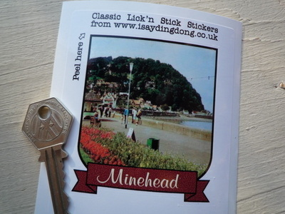 "Minehead Somerset Scroll Style Travel Sticker. 3.5""."