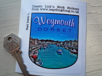 "Weymouth Dorset Shield Style Travel Sticker. 3.5""."