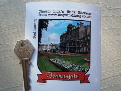"""Harrogate Scroll Style Travel Sticker. 3.5""""."""