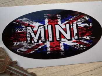 "Mini Union Jack Fade To Black Oval Sticker. 4""."