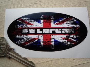 """DeLorean Fade to Black Union Jack Sticker. 4""""."""
