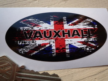 "Vauxhall Fade to Black Union Jack Sticker. 4""."