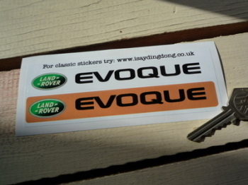"Land Rover Evoque Number Plate Dealer Logo Cover Stickers. 5.5"" Pair."