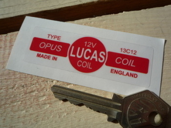 Lucas Opus Coil Sticker. Red & Clear . 13C12 12V. 2.