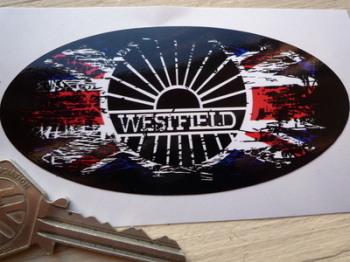 "Westfield Fade to Black Union Jack Sticker. 4""."