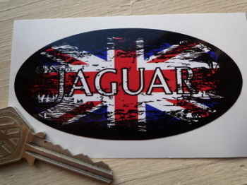 "Jaguar Fade to Black Union Jack Oval Sticker. 4""."