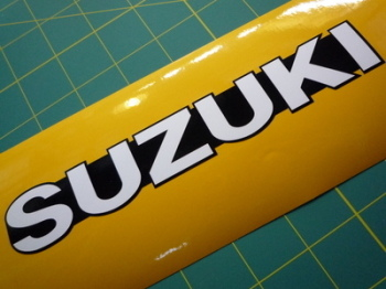 "Suzuki Black Band Shaped Text Stickers. 4"" or 7.5"" Pair."