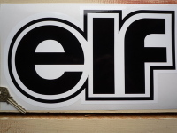 Elf Black & White Shaped Text Sticker. 12