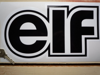 "Elf Black & White Shaped Text Sticker. 12""."