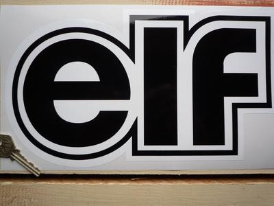 Elf Black & White Shaped Text Sticker. 12