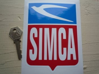 "Simca Later Style Shield Sticker. 4"" x 5.5""."