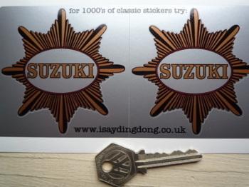 """Suzuki BSA Star Style Stickers. 3"""" Pair."""