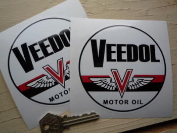 "Veedol Motor Oil Black Band Circular Stickers. 4"" Pair."