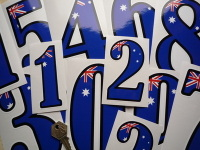 "Australian Racing Numbers Stickers. 4"", 6"" or 9"" Tall."