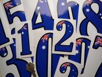 Australian Racing Numbers Stickers. 4