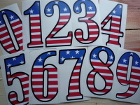 "USA Stars & Stripes Racing Numbers Stickers. 4"", 6"" or 9"" Tall."