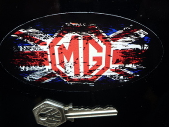 "MG Union Jack Fade To Black Oval Sticker. 4""."