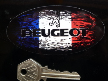 "Peugeot Fade to Black French Oval Sticker. 4""."