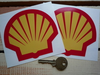 "Shell Modern Logo Stickers. 3"", 4"", 5.5"", or 6"" Pair."