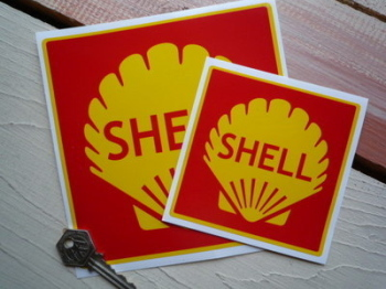 """Shell Red Square Stickers. 2"""", 3"""", 4"""" or 6"""" Pair."""