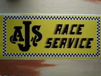 "AJS Race Service Workshop Sticker. 23.5""."