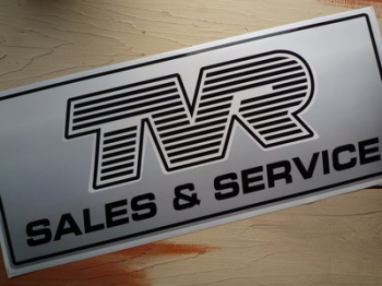 "TVR Sales & Service Workshop Sticker. 23.5""."