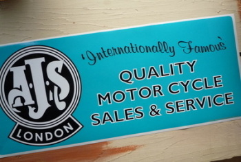 "AJS London Quality Motor Cycle Sales & Service Sticker. 23.5""."