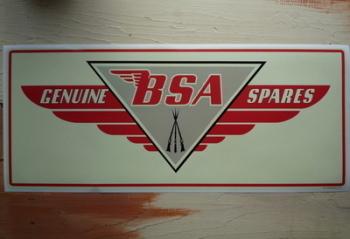 """BSA Genuine Spares Workshop Sticker. 23.5""""."""