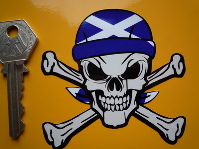 "Scottish Saltire Bandana Skull & Crossbone Sticker. 3""."