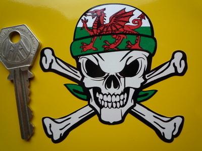 "Wales Welsh Dragon Bandana Skull & Crossbone Sticker. 3""."