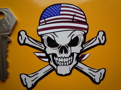 "USA Stars & Stripes Bandana Skull & Crossbone Sticker. 3""."