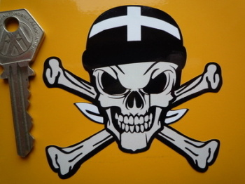 "Cornwall Cornish Flag Bandana Skull & Crossbone Sticker. 3""."