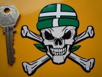 """Devon Devonshire Flag Bandana Skull & Crossbone Sticker. 3""""."""