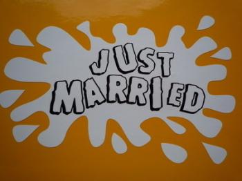 "Just Married Splat Style Wedding Honeymoon Case Sticker. 6""."