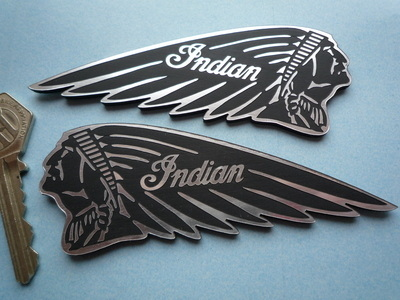 "Indian Chief Long Headdress Self Adhesive Motorcycle Badges. 4.5"" Pair."