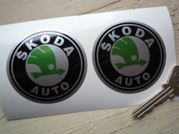 "Skoda Auto Black, Green & Silver Circular Logo Stickers. 2.5"" Pair."