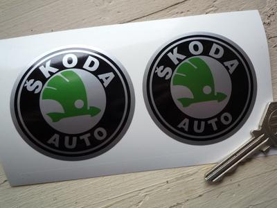 "Skoda Auto Black, Green & Silver Circular Logo Stickers. 2.5"" Pair."