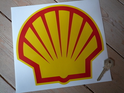 Shell Modern Logo With Yellow Border Sticker. 8.5