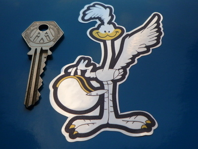 "Road Runner with Helmet Black & Foil Sticker. 4""."