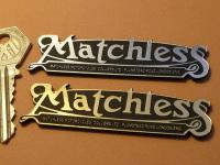 "Matchless Script Laser Cut Self Adhesive Bike Badge. 3.25""."