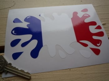 "French Flag Splat Style Sticker. 6""."