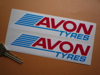 "Avon Tyres Streaked Oblong Stickers. 6.5"" Pair."