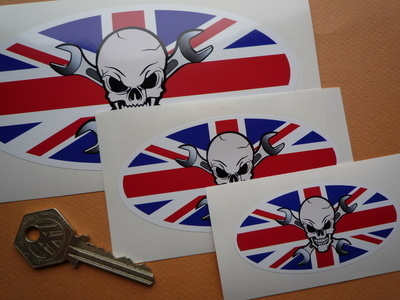 "Skull & Cross Spanner Union Jack Oval Sticker. 3"", 4"", 6"" or 8""."