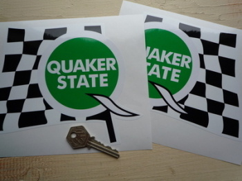 "Quaker State Green 'Q' Chequered Flag Stickers. 7"" Pair."