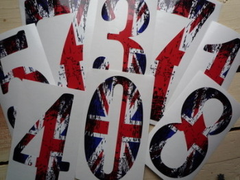 "Union Jack Worn Effect Racing Numbers Stickers. 4"", 6"" or 9"" Tall."